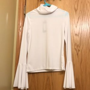 White ribbed sheer turtleneck with bell sleeves